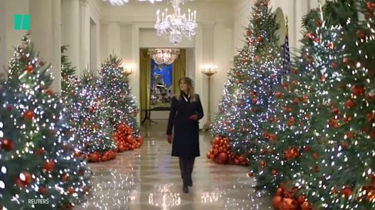 Fake Christmas Fireplace.Trump Emerges From A Big Fake Christmas Fireplace And The