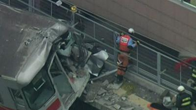 Raw: Train Collides With Truck in Japan