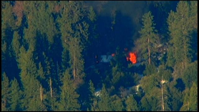 Exclusive: Close-up footage of Christopher Dorner cabin in flames