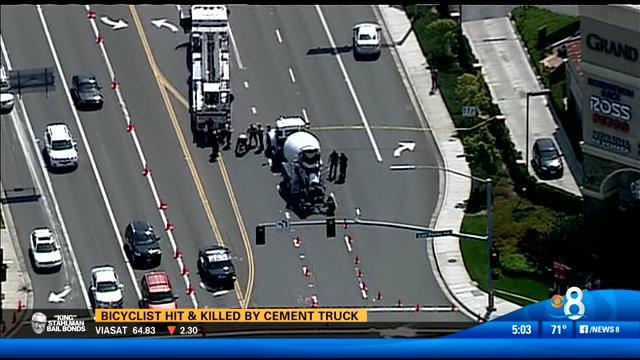 Bicyclist hit and killed by cement truck in San Marcos