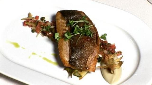 Chef Profiles and Recipes - Daniel Boulud Brasserie's Sea Bass with Sauce Vierge