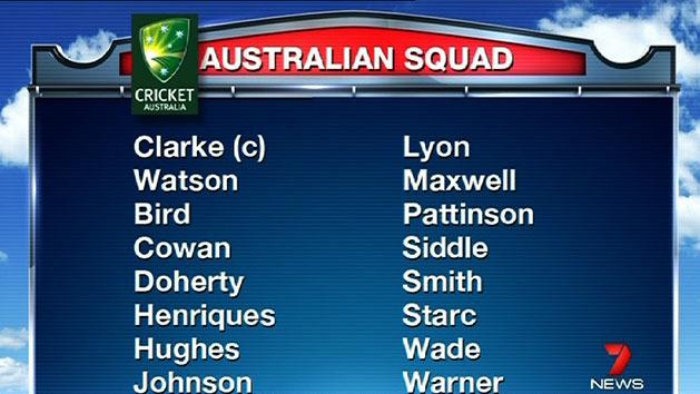 Australian squad named