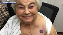 82-Year-Old Cubs Fan Gets Team Tattoo