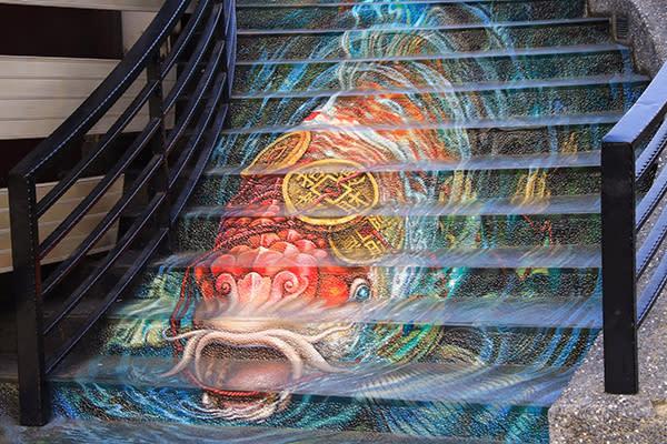 紫南宮的3D彩繪階梯為春節走春祭出新景點 (圖片提供/夾腳拖先生)