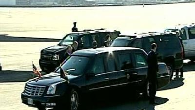 Uncut: Obama Motorcade Leaves Logan