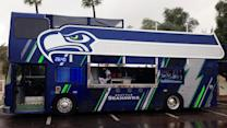 The ultimate fan bus at the Super Bowl