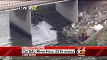 Divers Search For Car That Plunged Into San Gabriel River In Long Beach