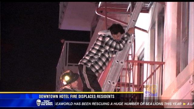 Downtown hotel fire displaces residents