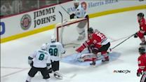 Joe Thornton sets up Brent Burns for a goal