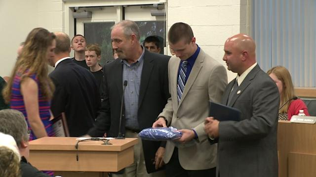 Early Graduation Ceremony Held For Student Leaving For Basic Training