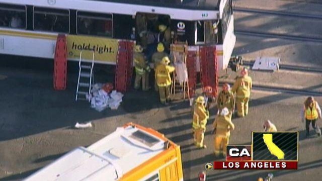 Across America: Train collides with bus in Los Angeles