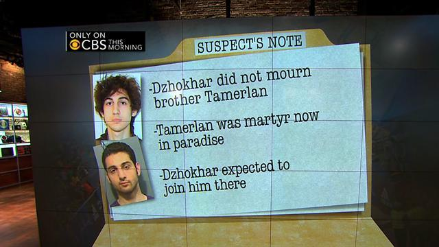 Boston Marathon bombing suspect left note: What did it say?