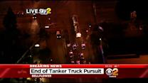 Tanker Truck Pursuit Ends In Bellflower, Suspect In Custody