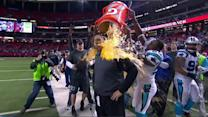 Carolina Panthers head coach Ron Rivera gets a gatorade bath after win