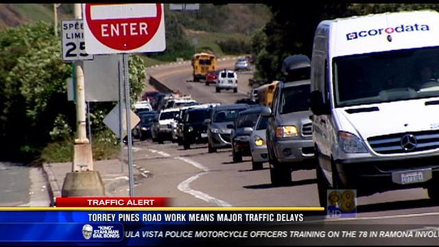 Torrey Pines road work means major traffic delays