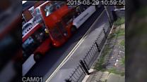 CCTV of buses colliding head-on (no sound)