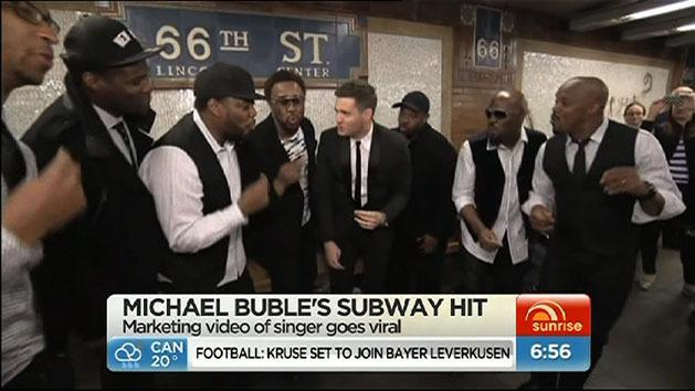 Michael Buble sings on the subway