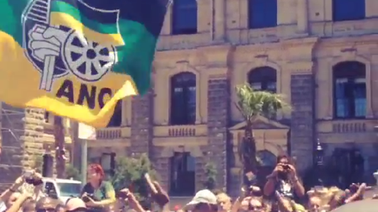 Crowds celebrate Mandela's life at Cape Town City Hall