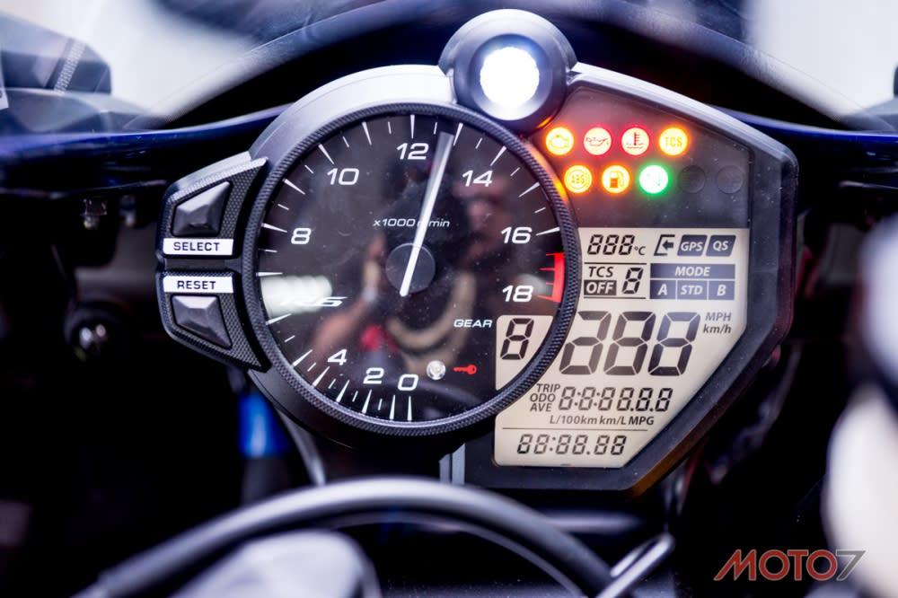 儀表中看到GPS 圖示,R6 可搭配GPS 天線來紀錄單圈。