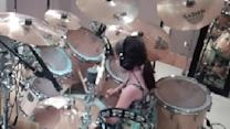 Little Girl Amazing On Drums