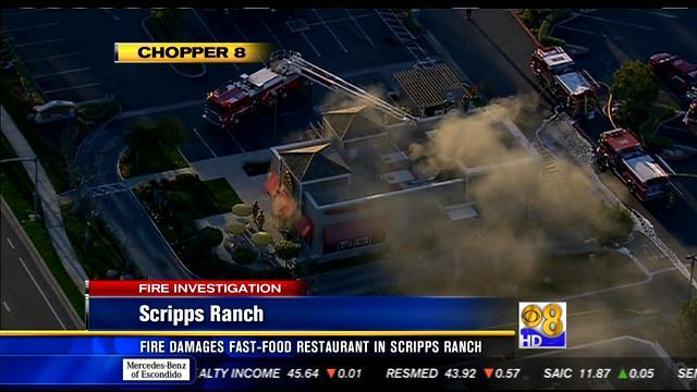 Fire damages fast food restaurant in Scripps Ranch