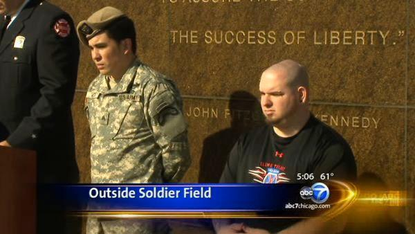2 injured vets honored outside Soldier Field