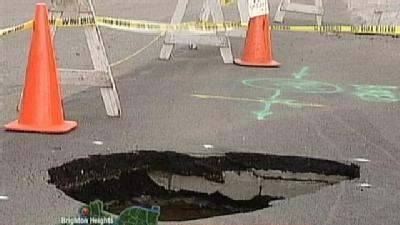 Crews Say Repairs Planned For Brighton Heights Sinkhole