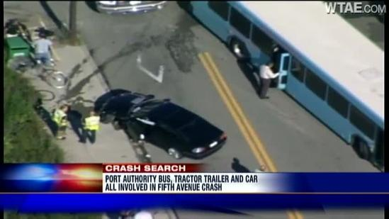 Car, tractor-trailer, Port Authority bus crash