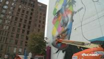 Check out this building-sized mural of Bob Dylan