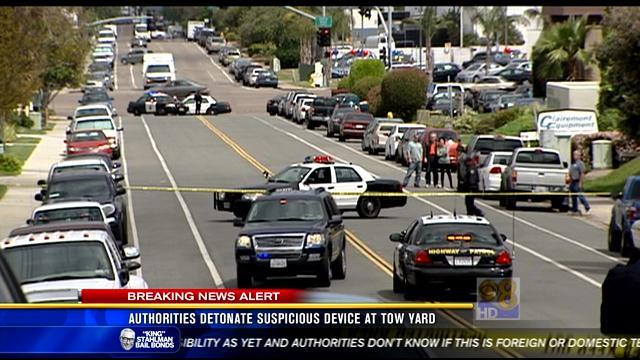 Authorities detonate suspicious device at tow yard