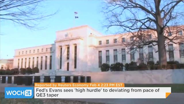 Fed's Evans Sees 'high Hurdle' To Deviating From Pace Of QE3 Taper