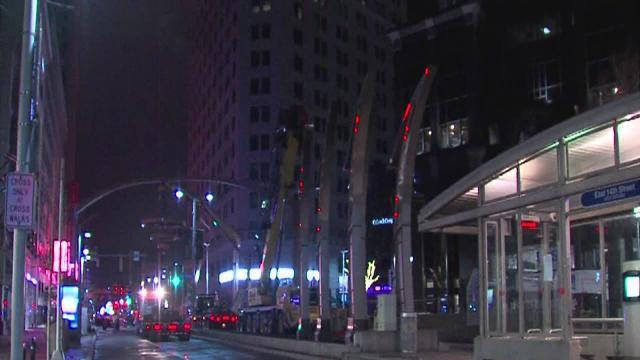 PlayhouseSquare Chandelier frame goes up Friday morning on Euclid Avenue