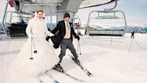 Bride and groom hit the slopes after their wedding ceremony