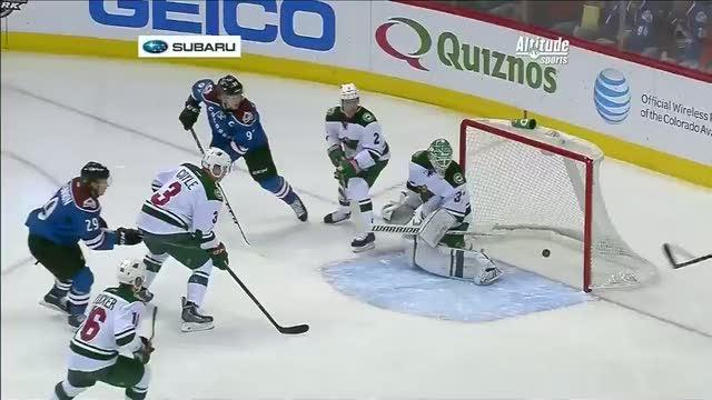 Landeskog deflects puck off Harding