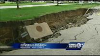 Mission makes plans to fix giant sinkhole