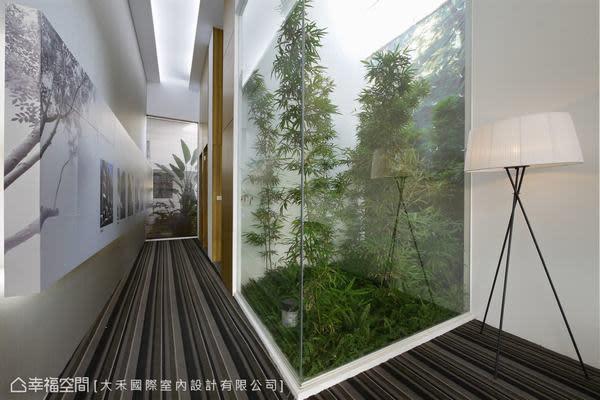 櫃台另一側通往被天井綠意包圍的盥洗空間,在格局中獨立出隱蔽、舒適的空間。