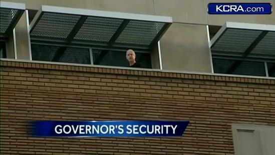 Gov. Brown yells down at KCRA 3 crew covering break-in attempt
