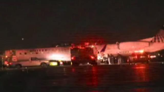 Jet veers off runway at Newark after four tires blow out