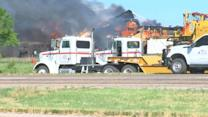 Crews Fighting to Contain Blaze After Freight Train Crash in Texas