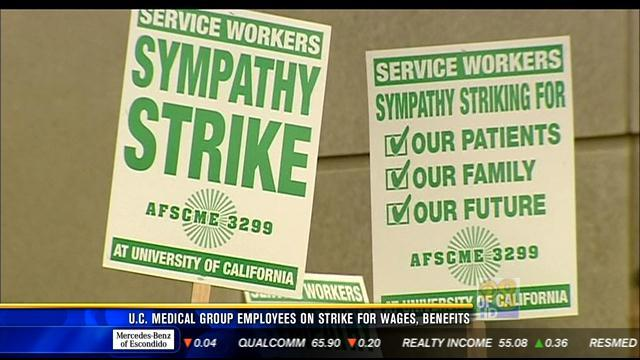 U.C. Medical Group employees on strike for wages, benefits