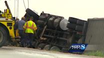 Semi flipped over during storm