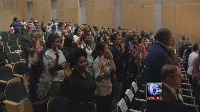At NCC new citizens react to government shutdown