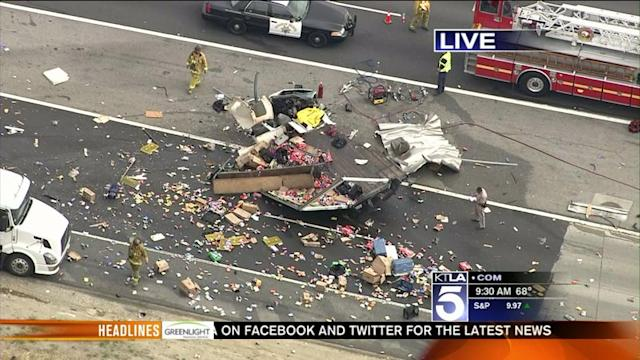 Crash Closes Portion of 60 Freeway; 1 Airlifted to Hospital