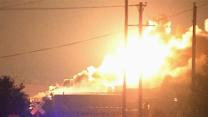 Raw: Fire, Explosions at Oklahoma Chemical Plant