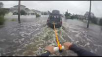 Street Surfing in flooded Delaware after Hurricane Joaquin