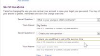 Updating Security Questions and Answers