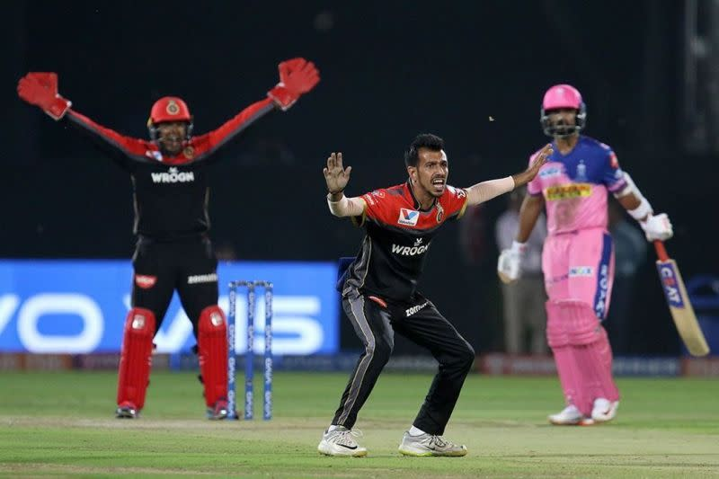 Yuzvendra Chahal of Royal Challengers Bangalore successfully appeals for the wicket of Ajinkya Rahane. Picture courtesy: BCCI/iplt20.com