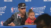 Raw Video: Steph Curry & Riley Curry After Warriors Win Western Conference
