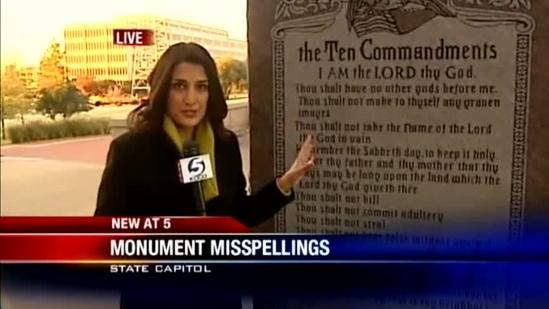 Mistakes spotted in Ten Commandments monument
