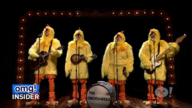 Hot Chicks! Jimmy Fallon, Blake Shelton, and Nick Offerman Cluck 'Ho Hey'